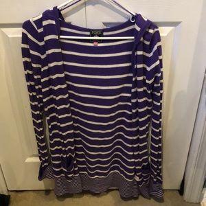 PINK Purple/White Striped Tunic Length Sweater